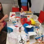 Other participants worked on installation boxes. Installation boxes are smaller models of installation art pieces.