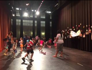 "Campers in the ""Adventures in Movement"" activity free-style dance."