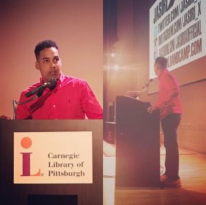 Jasiri X giving his keynote address. Picture from Jasiri X's instagram page.