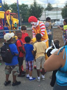 Ronald McDonald talking to the kids