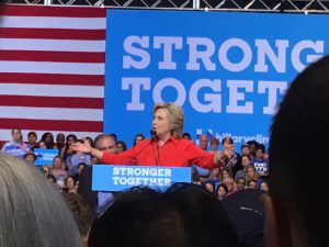 Hillary Clinton discusses jobs with the Pittsburgh crowd