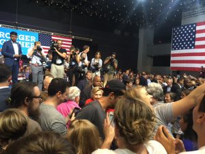 Hillary and Bill Clinton thank the crowd shortly after the rally